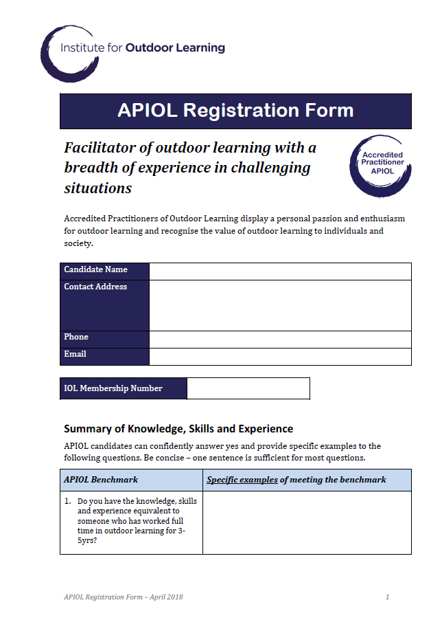 APIOL Registration Form