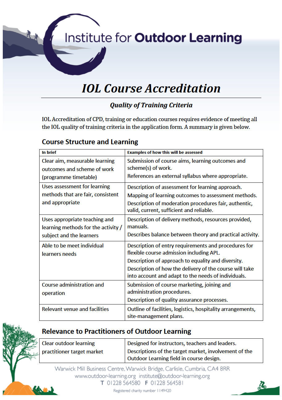 Quality of Training Criteria