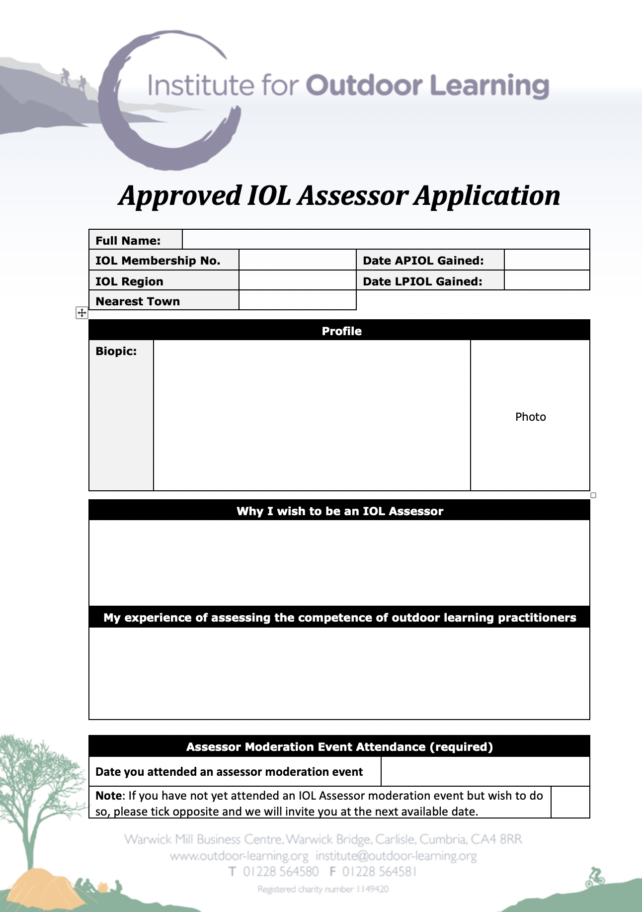 Approved Assessor Application