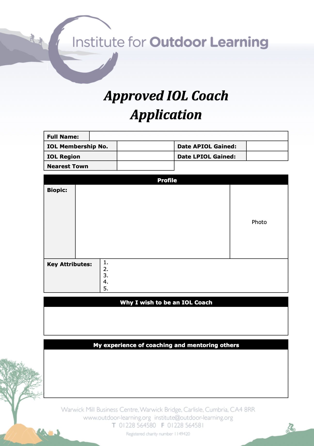 Approved Coach Application