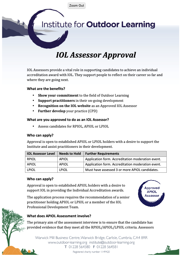 IOL Assessor Approval Process