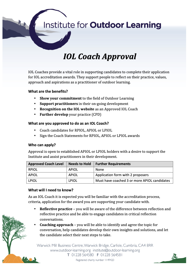 IOL Coach Approval Process