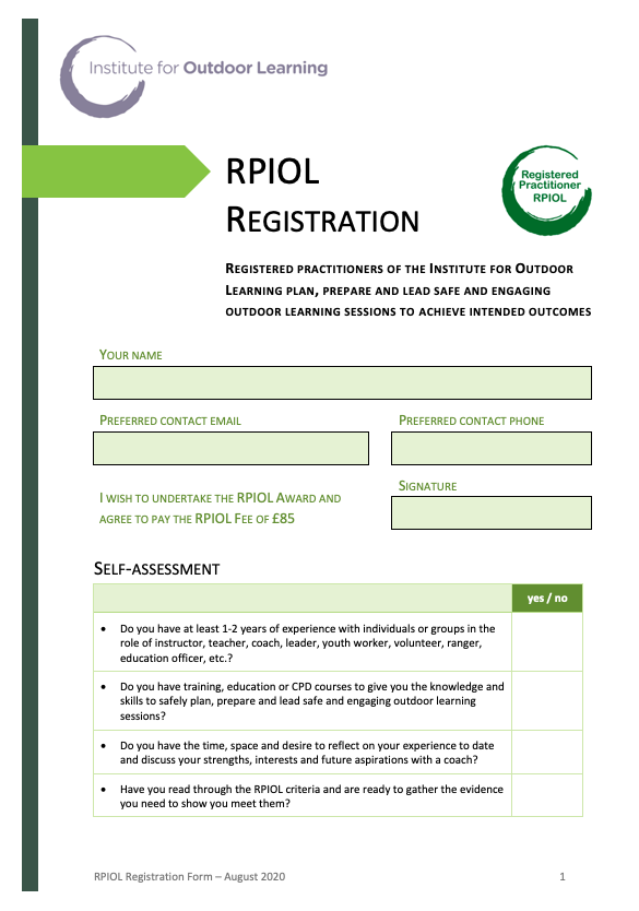 RPIOL Award Candidate Registration Form