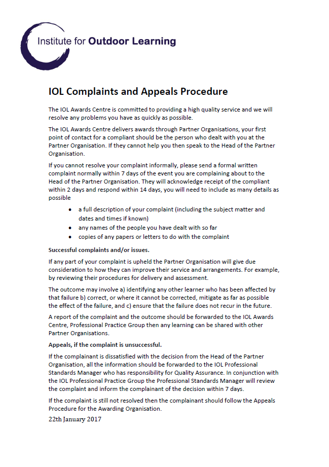 IOL Awards Centre Complaints and Appeals Procedure