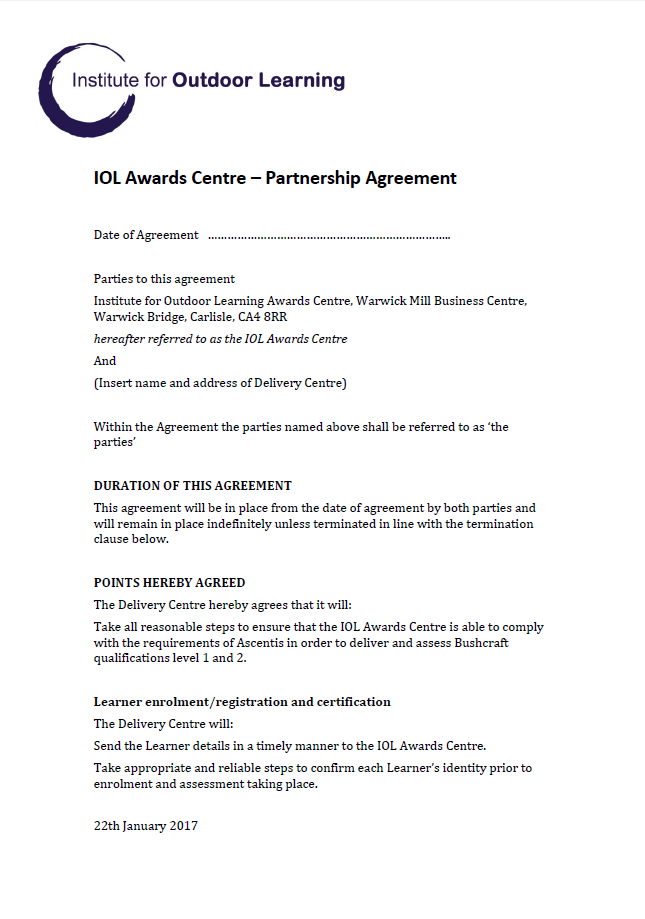 IOL Awards Centre Partner Agreement