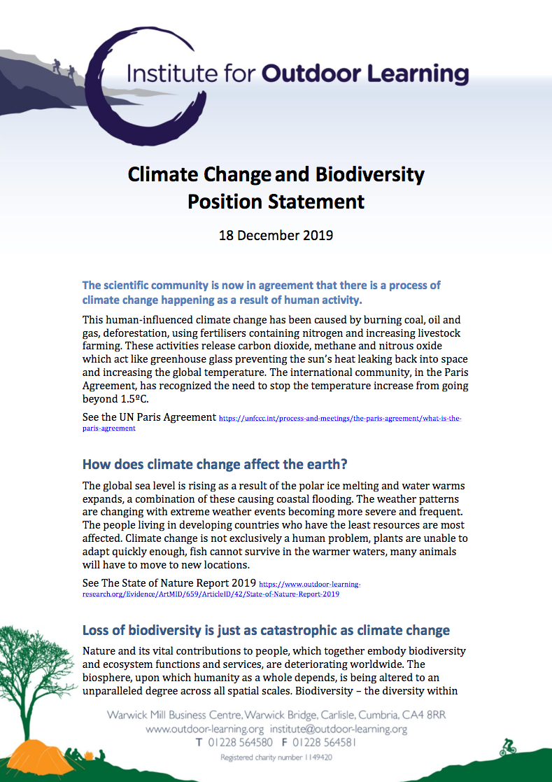 Climate Change and Biodiversity Position Statement