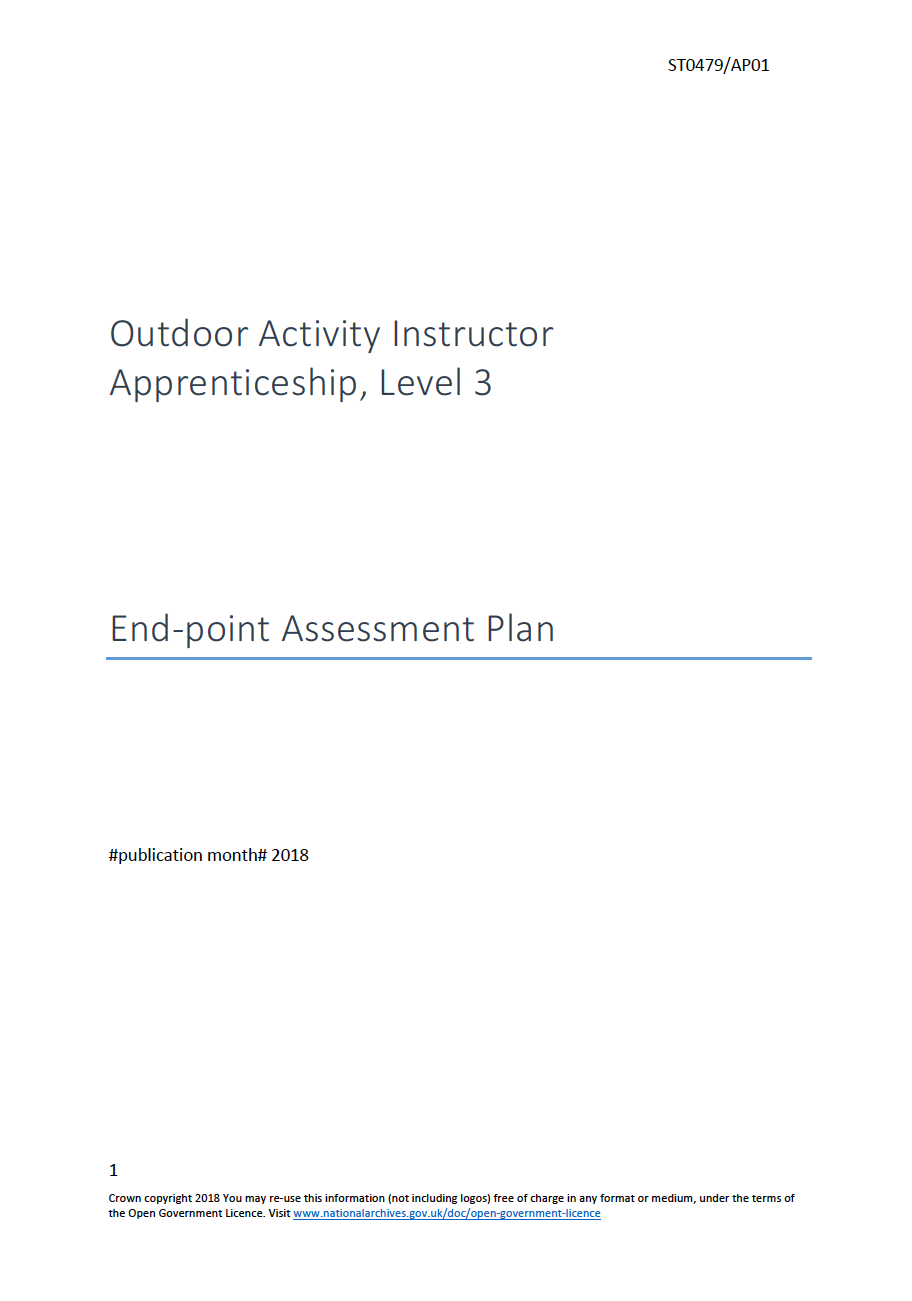 Outdoor Activity Instructor Apprenticeship, Level 2 End-point Assessment Plan