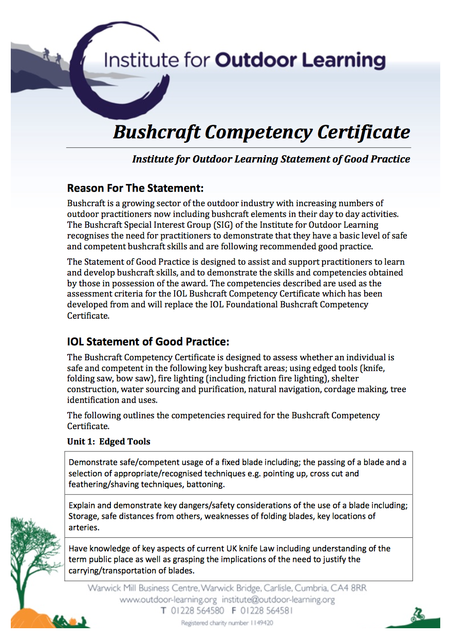 Bushcraft Competency Certificate
